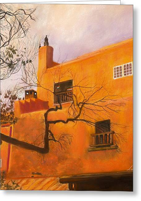 Santa Fe Building Greeting Card by Leonor Thornton