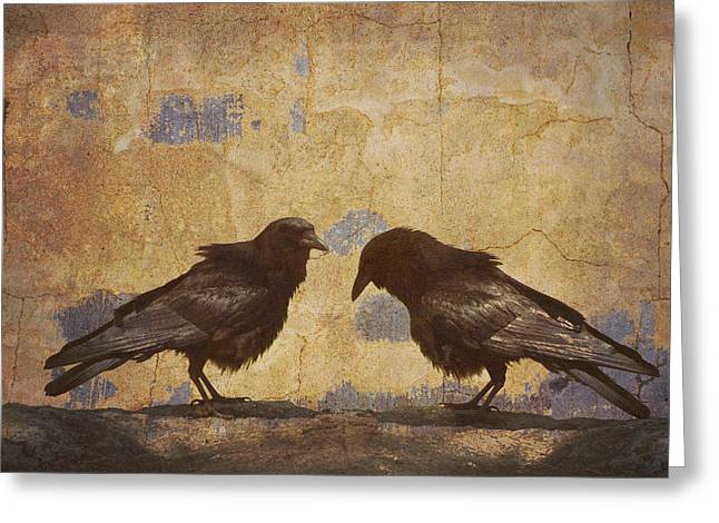 Santa Fe Crows Greeting Card by Carol Leigh