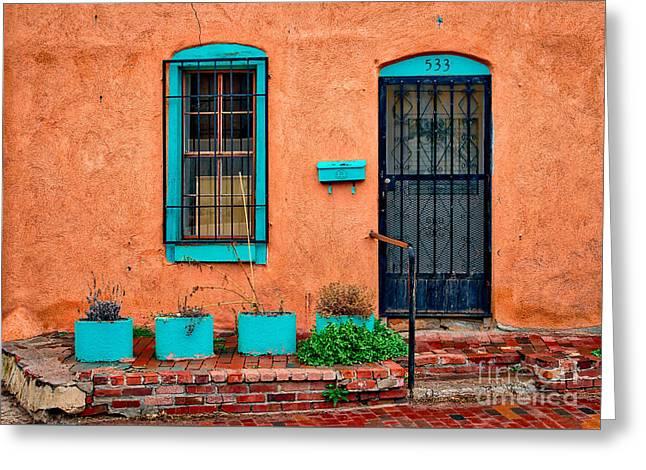 Santa Fe Door 533 Greeting Card by Jerry Fornarotto