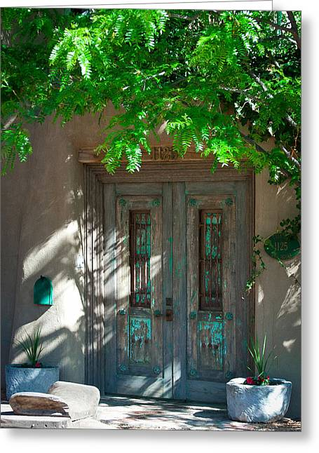 Patterson House Greeting Cards - Santa Fe Door Greeting Card by David Patterson