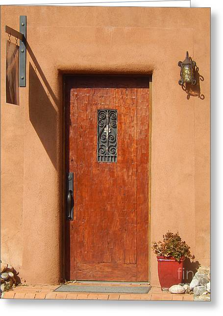 Santa Fe Door With Wrought Iron Greeting Card