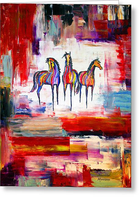 Greeting Card featuring the painting Santa Fe Dreams Horses by Jennifer Godshalk