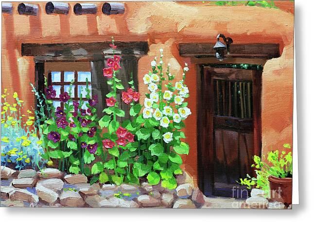 Santa Fe Hollyhocks Greeting Card by Gary Kim