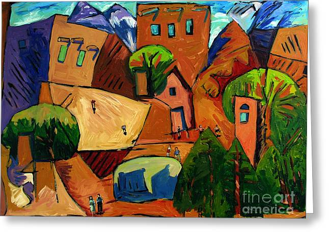 Santa Fe On My Mind Greeting Card by Charlie Spear