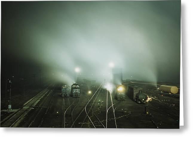 Santa Fe Railroad Rail Yard Greeting Card by MotionAge Designs