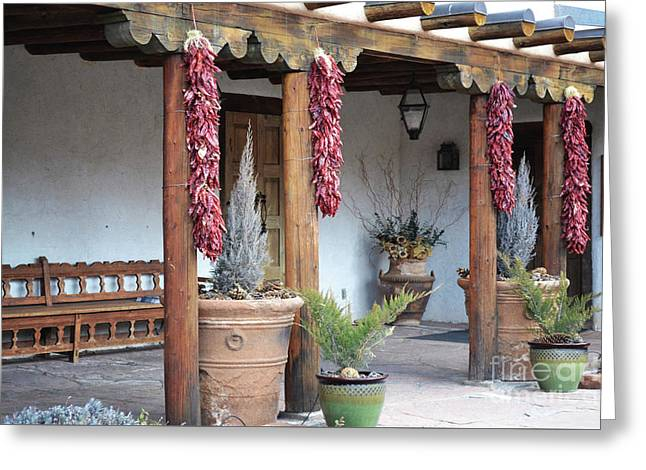 Greeting Card featuring the photograph Santa Fe Red Chili Ristra Porch by Andrea Hazel Ihlefeld