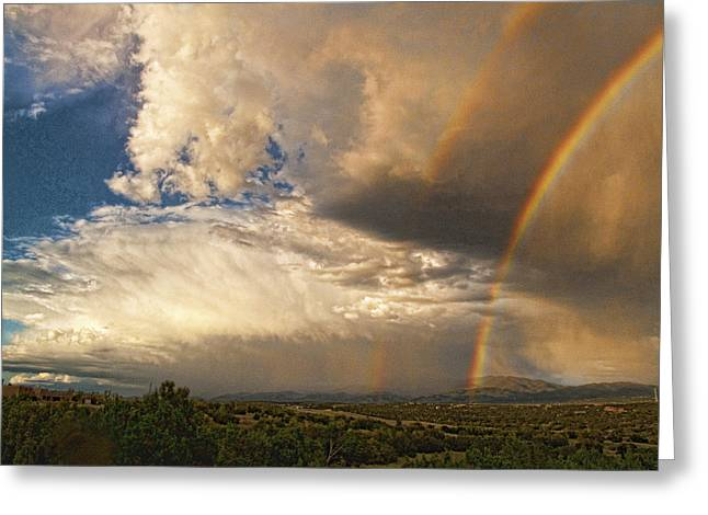 Greeting Card featuring the photograph Santa Fe Summer Sky With Double Rainbow by Paul Cutright