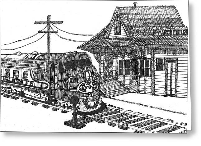 Santa Fe Super Chief At Depot  Greeting Card by Bd