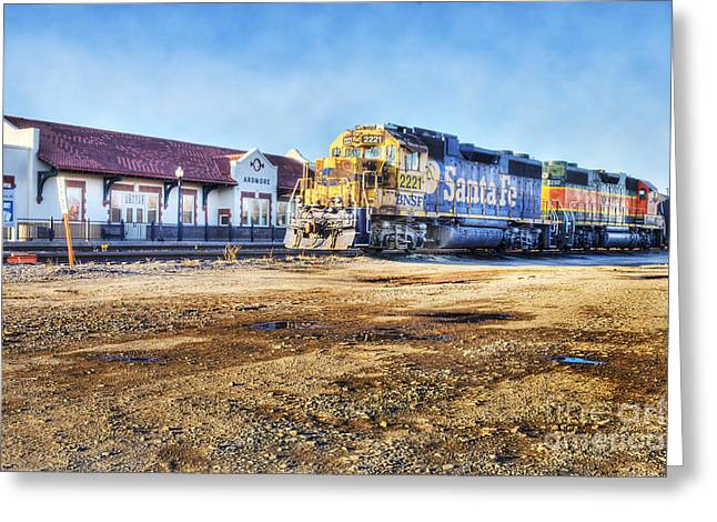 Greeting Card featuring the photograph Santa Fe Train In Ardmore by Tamyra Ayles