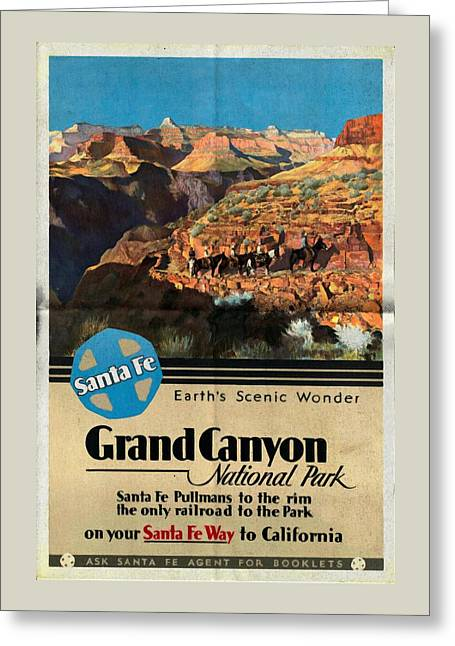 Santa Fe Train To Grand Canyon - Vintage Poster Folded Greeting Card
