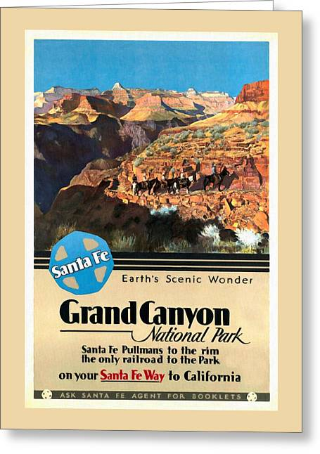 Santa Fe Train To Grand Canyon - Vintage Poster Restored Greeting Card