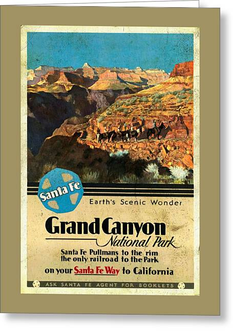 Santa Fe Train To Grand Canyon - Vintage Poster Vintagelized Greeting Card