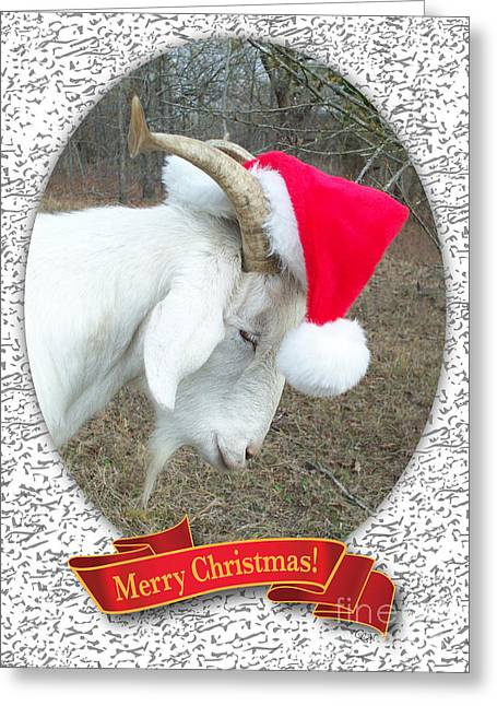 Greeting Card featuring the photograph Santa Goat by Cheryl McClure