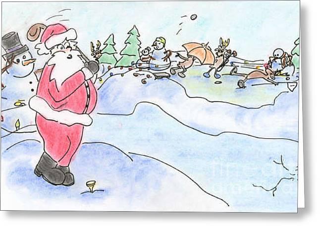 Santa Golf Greeting Card by Vonda Lawson-Rosa