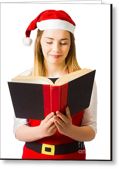 Santa Helper Reading Christmas Story Book Greeting Card by Jorgo Photography - Wall Art Gallery