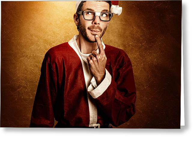 Santa Helper Thinking Smart Christmas Ideas Greeting Card by Jorgo Photography - Wall Art Gallery