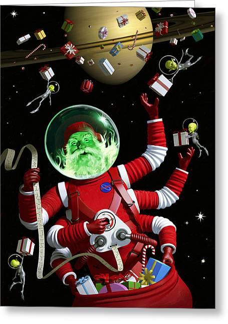 Santa In Space Greeting Card by Alex Tomlinson