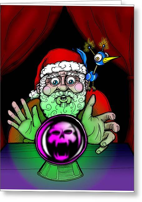 Santa Knows Greeting Card by Christopher Capozzi