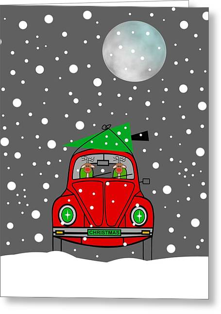 Santa Lane Greeting Card by Kathleen Sartoris