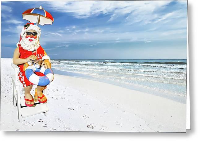 Santa Lifeguard Greeting Card