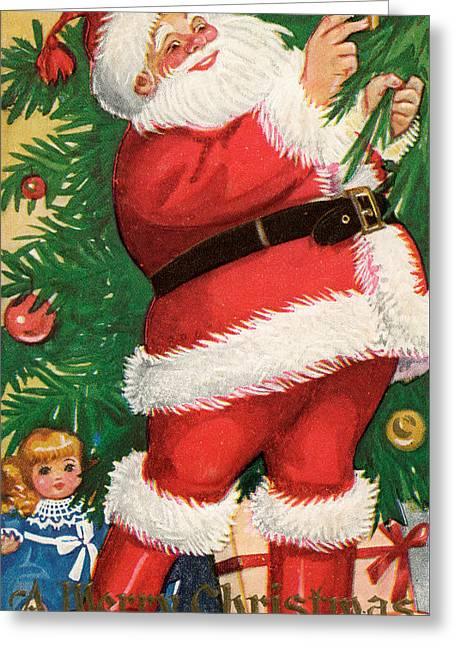 Santa Lighting Candles On A Christmas Tree Greeting Card by American School
