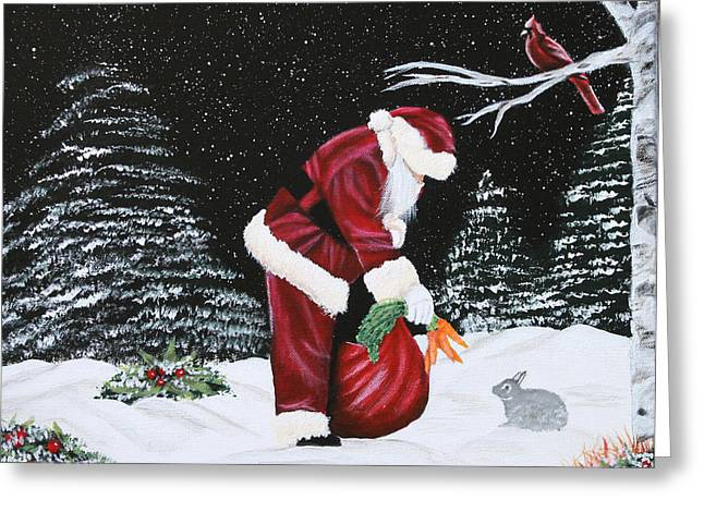 Santa Loves All Creatures Greeting Card