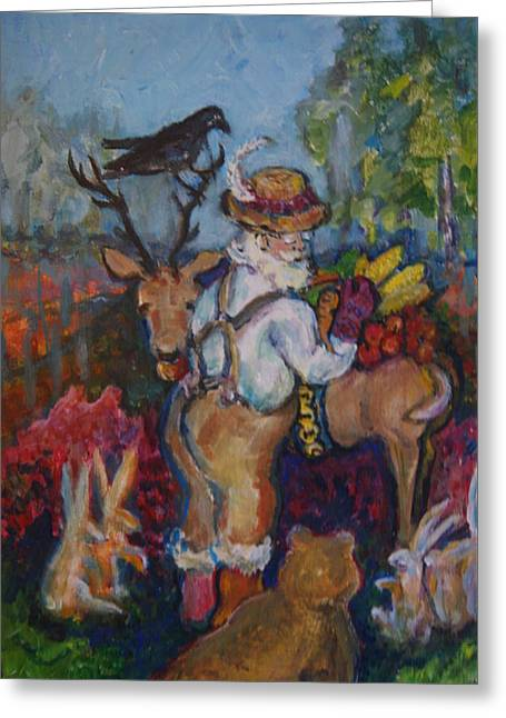 Santa Loves The Forest Creatures. Greeting Card by Susan Brown    Slizys art signature name