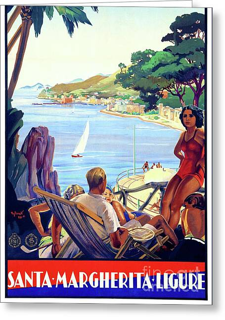 Santa Margherita Ligure Vintage Poster Restored Greeting Card