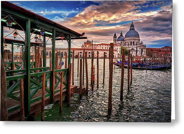 Santa Maria Della Salute From The Docks In Venice, Italy Greeting Card