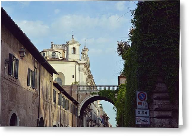 Santa Maria On Via Guilia Greeting Card by JAMART Photography