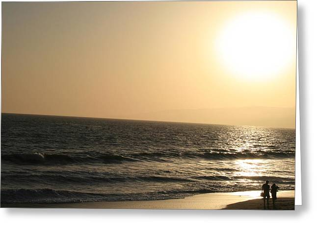 Santa Monica At Sunset Greeting Card by Aimee Galicia Torres