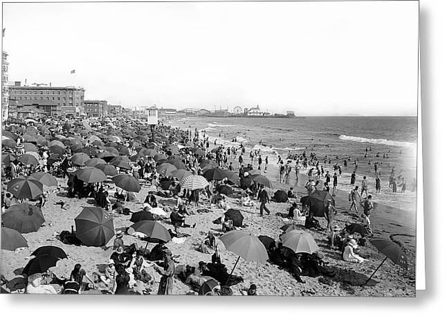 Santa Monica Beach And Pier C. 1910 Greeting Card by Daniel Hagerman
