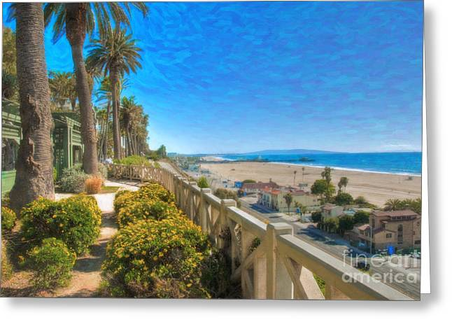 Santa Monica Ca Palisades Park Bluffs Gold Coast Luxury Houses Greeting Card by David Zanzinger