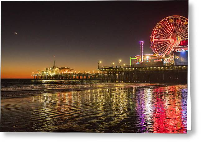 Santa Monica Pier After Sunset Greeting Card