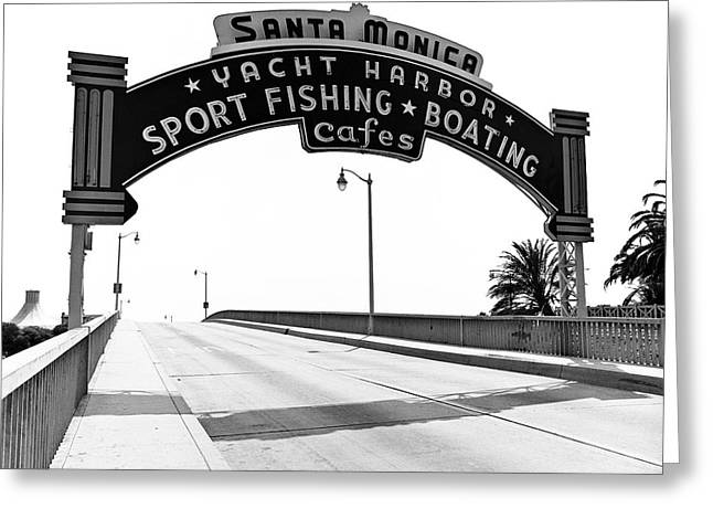 Beach Road Greeting Cards - Santa Monica Pier Arch Greeting Card by Joe  Palermo