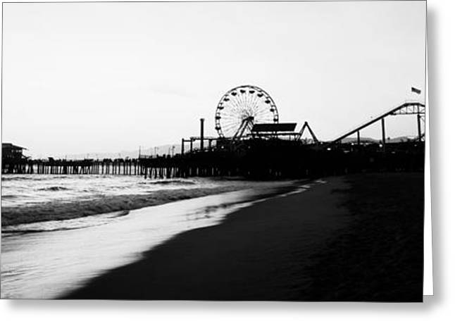 Santa Monica Pier Black And White Panoramic Photo Greeting Card by Paul Velgos