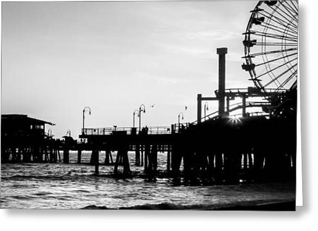 Santa Monica Pier Black And White Panoramic Picture Greeting Card by Paul Velgos