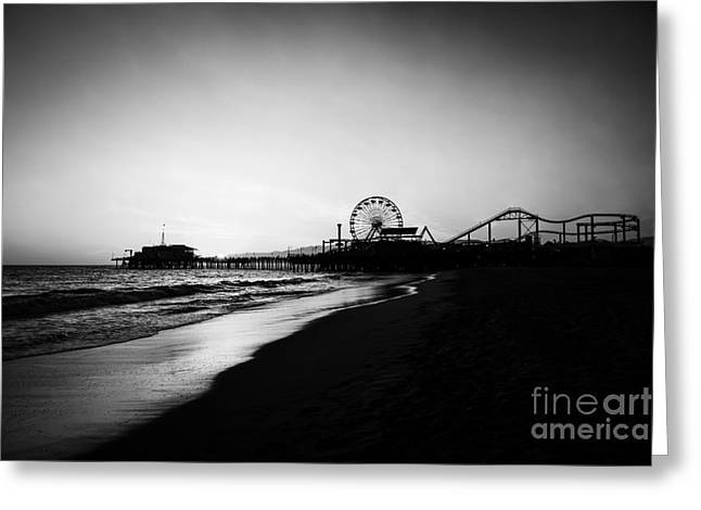 Santa Monica Pier Black And White Photography Greeting Card by Paul Velgos
