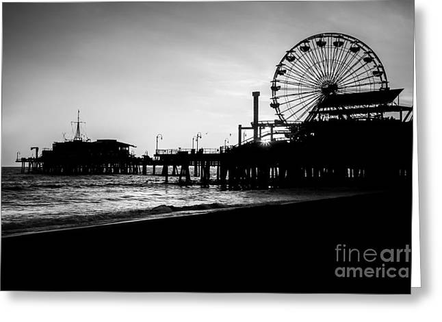 Santa Monica Pier Black And White Picture Greeting Card by Paul Velgos