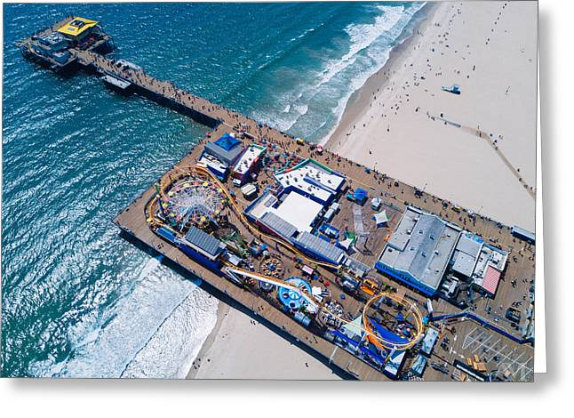 Santa Monica Pier From Above Side Greeting Card by Andrew Mason