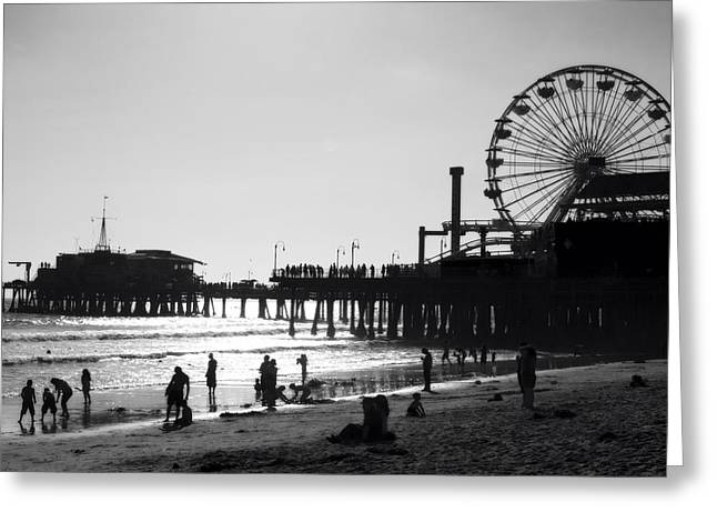Santa Monica Pier Greeting Card by John Gusky