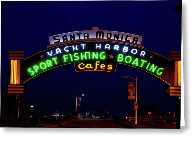 Santa Monica Pier Greeting Card by Mountain Dreams