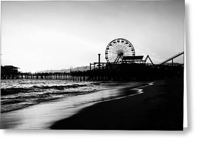 Santa Monica Pier Panorama Photo Greeting Card by Paul Velgos