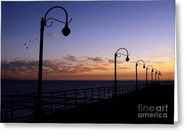 Santa Monica Pier Sunset Greeting Card by Chris Jurgenson