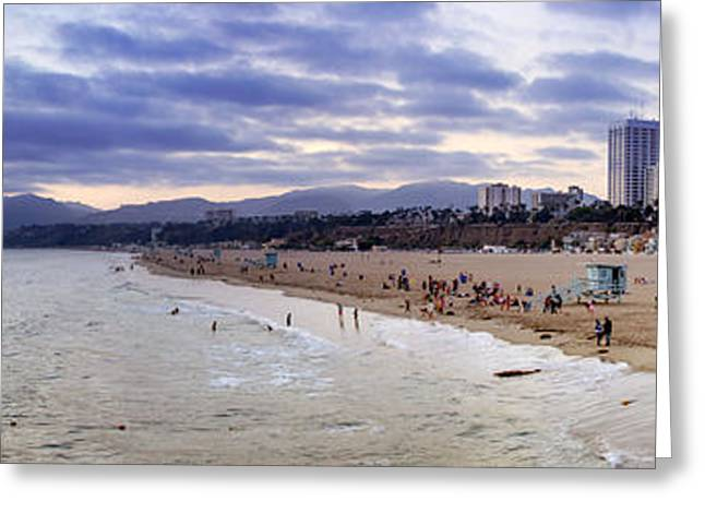 California Beach Art Greeting Cards - Santa Monica Sunset Panorama Greeting Card by Ricky Barnard