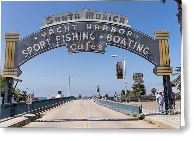 Santa Monica Yacht Harbor At Santa Monica Pier In Santa Monica California Dsc3665 Greeting Card