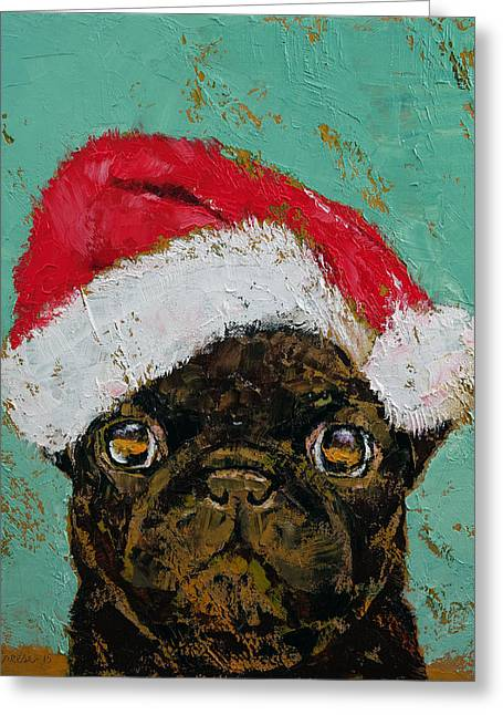 Santa Pug Greeting Card by Michael Creese