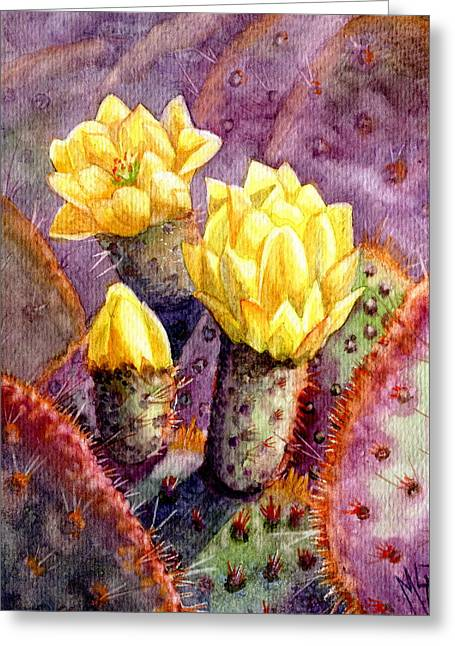 Greeting Card featuring the painting Santa Rita Prickly Pear Cactus by Marilyn Smith