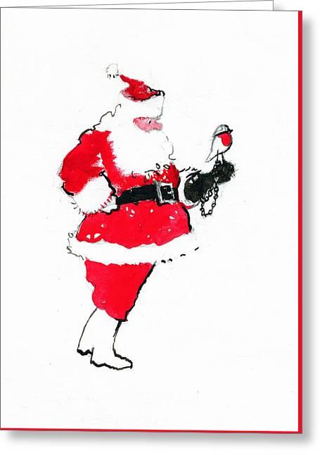 Santa Robin Falconry Greeting Card