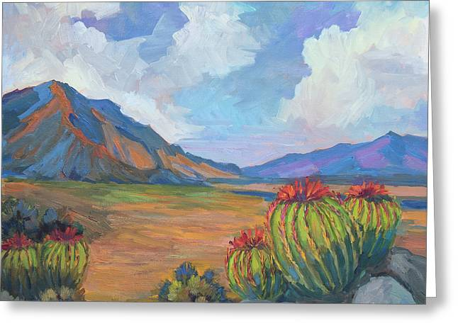 Santa Rosa Mountains And Barrel Cactus Greeting Card by Diane McClary